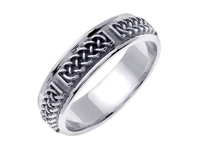 14K White Gold Comfort Fit Infinity Knot Celtic Men'S 6 Mm Wedding Band