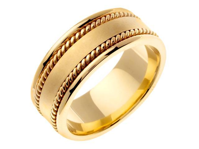 14K Yellow Gold Comfort Fit Flat Surface Braided Men'S 8 Mm Wedding Band