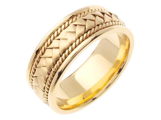 Faceted Designer Men'S 6 Mm 14K Two Tone Gold Comfort Fit Wedding Band