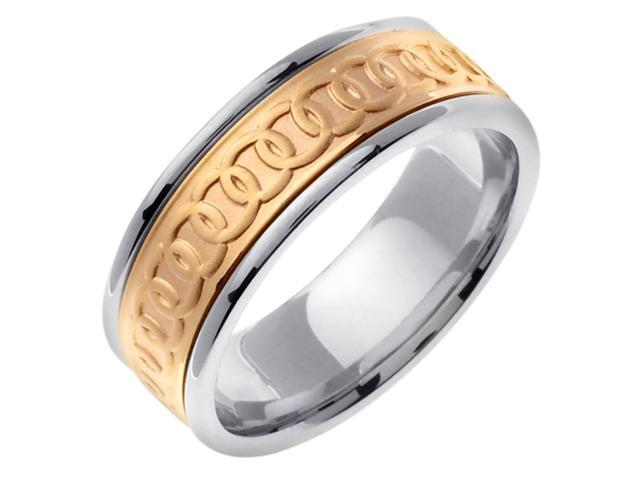 14K Two Tone Gold Comfort Fit Infinity Celtic Men'S 8 Mm Wedding Band