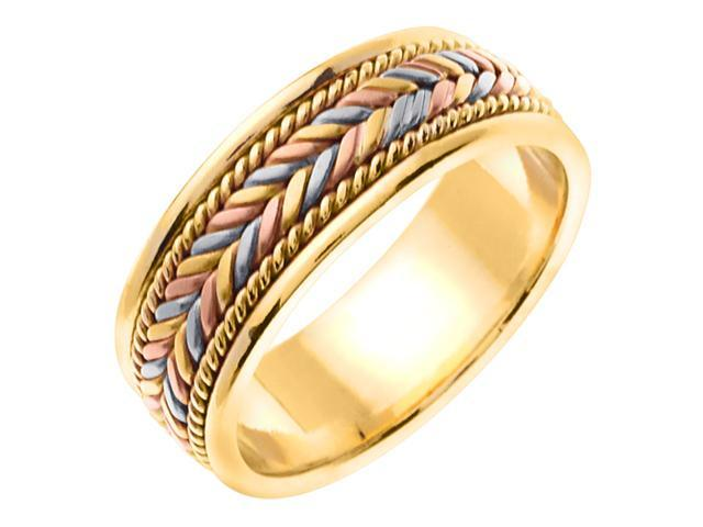 14K Tri Color Gold Comfort Fit Candy Cane Braided Men'S 7 Mm Wedding Band