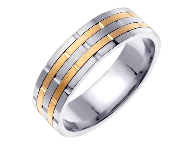 14K Two Tone Gold Comfort Fit Ring Stacks Contemporary Men'S 6.5 Mm Wedding Band