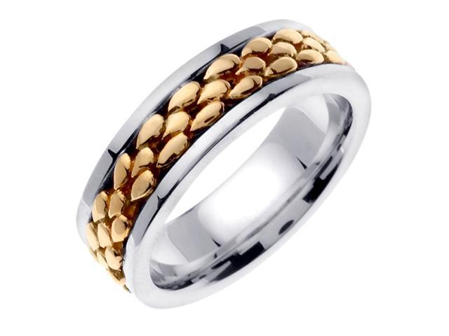 14K Two Tone Gold Comfort Fit Droplets Braided Men'S 7 Mm Wedding Band