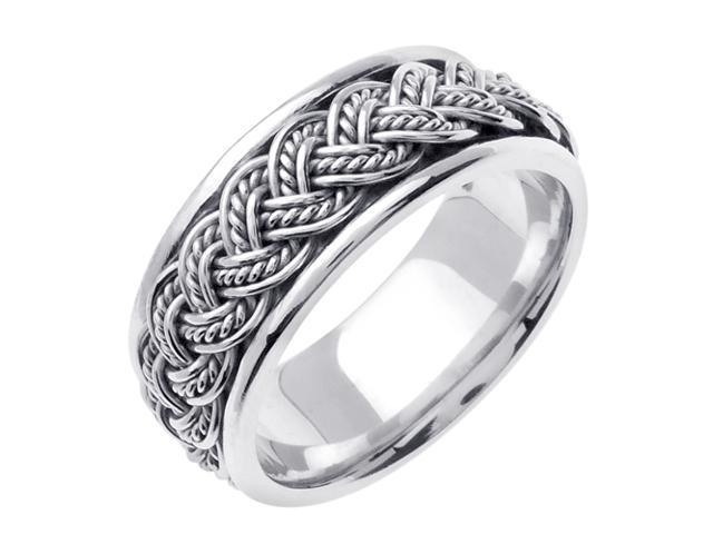 14K White Gold Comfort Fit Multi Strand French Braid Braided Men'S Wedding Band