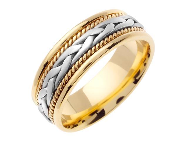 14K Two Tone Gold Comfort Fit French Braid Braided Men'S Wedding Band