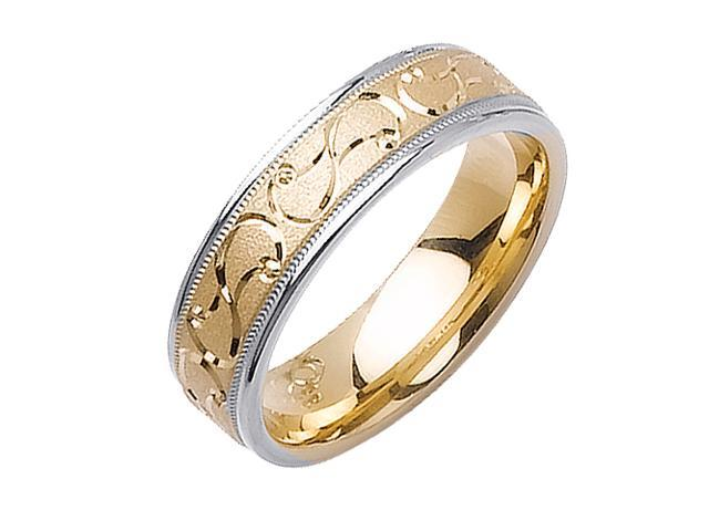 Double Spiral Designer Men'S 6 Mm 14K Two Tone Gold Comfort Fit Wedding Band