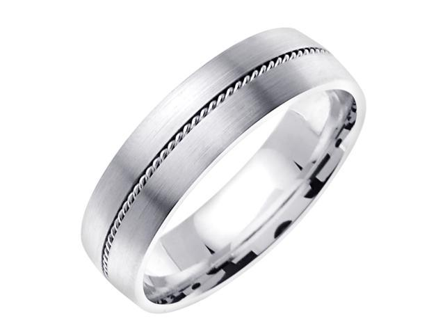 14K White Gold Comfort Fit Flat Surface Braided Men'S 6 Mm Wedding Band