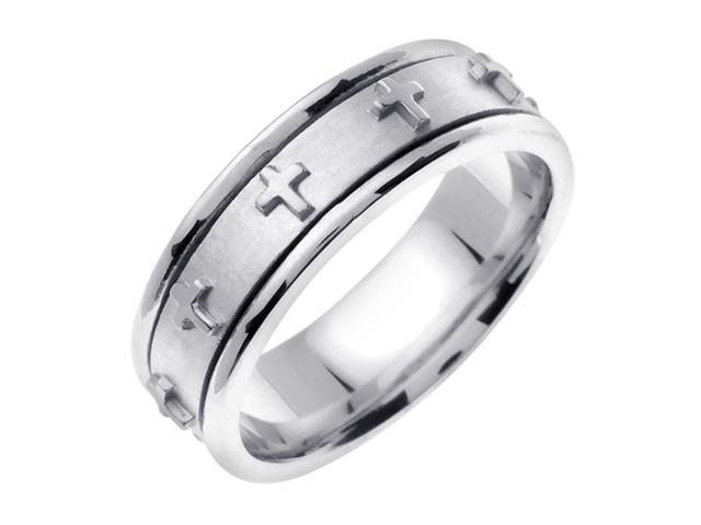 14K White Gold Comfort Fit Flat Surface Christian Men'S Wedding Band