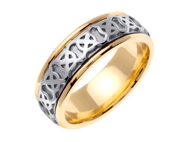 14K Two Tone Gold Comfort Fit Wheel Of Being Celtic Men'S 8 Mm Wedding Band