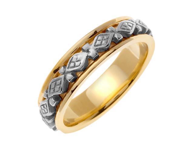 14K Two Tone Gold Comfort Fit 4 Square Celtic Men'S 6 Mm Wedding Band