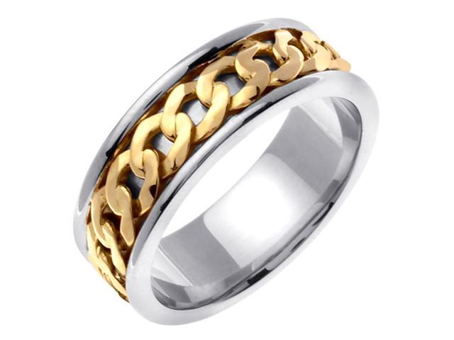 14K Two Tone Gold Comfort Fit Infinity Knot Celtic Men'S 7 Mm Wedding Band