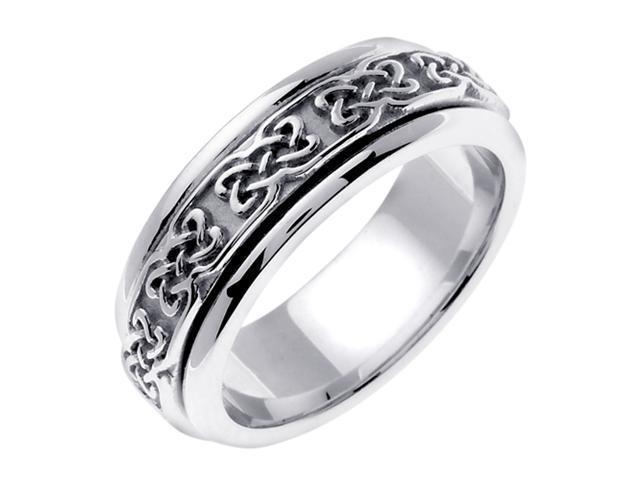 14K White Gold Comfort Fit Dara Knot Celtic Men'S 7 Mm Wedding Band