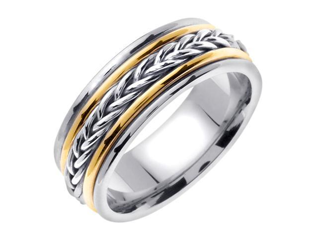 14K Two Tone Gold Comfort Fit Heavy Strand Braid Braided Men'S 8 Mm Wedding Band