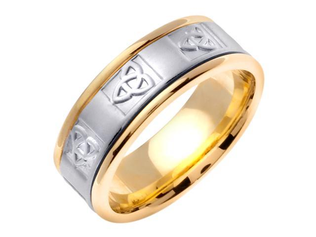 14K Two Tone Gold Comfort Fit Trinity Knot Celtic Men'S 8 Mm Wedding Band