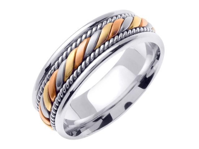 14K Tri Color Gold Comfort Fit Candy Cane Braided Men'S Wedding Band
