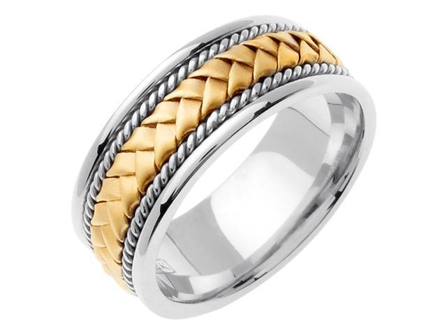 14K Two Tone Gold Comfort Fit Basket Weaved Braided Men'S Wedding Band