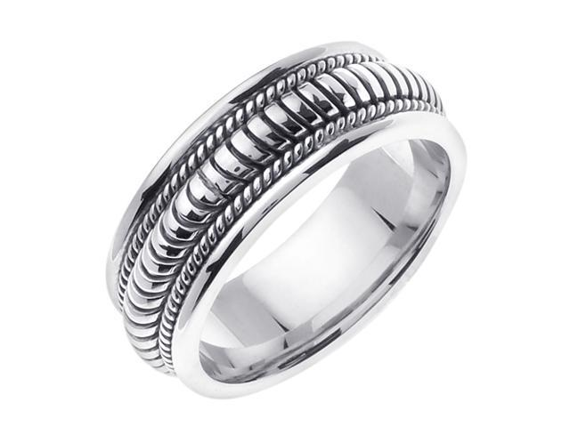14K White Gold Comfort Fit Coil Like Braided Men'S Wedding Band
