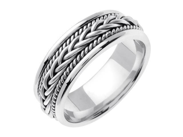 14K White Gold Comfort Fit French Braid Braided Men'S Wedding Band