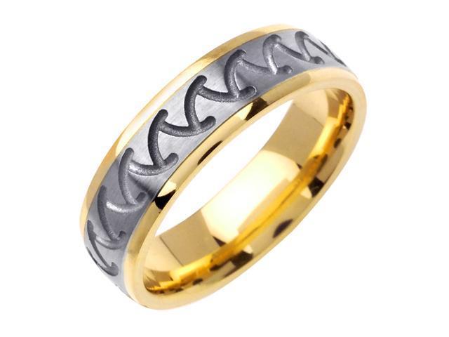 Wave Designer Men'S 6 Mm 14K Two Tone Gold Comfort Fit Wedding Band