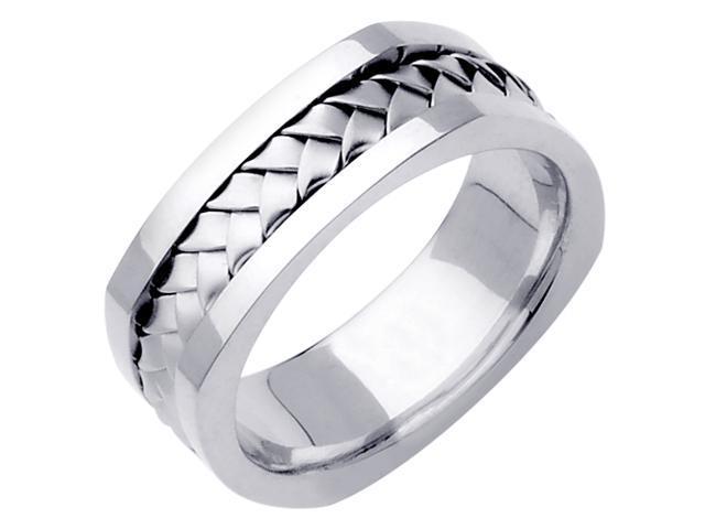 14K White Gold Comfort Fit Basket Weaved Braided Men'S Square Wedding Band