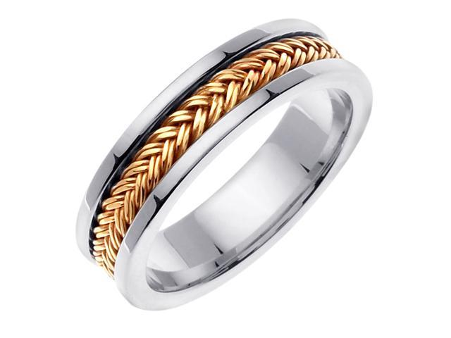 14K Two Tone Gold Comfort Fit Double Braid Braided Men'S 6 Mm Wedding Band