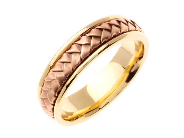 Beaded Band Designer Men'S 6 Mm 14K Two Tone Gold Comfort Fit Wedding Band
