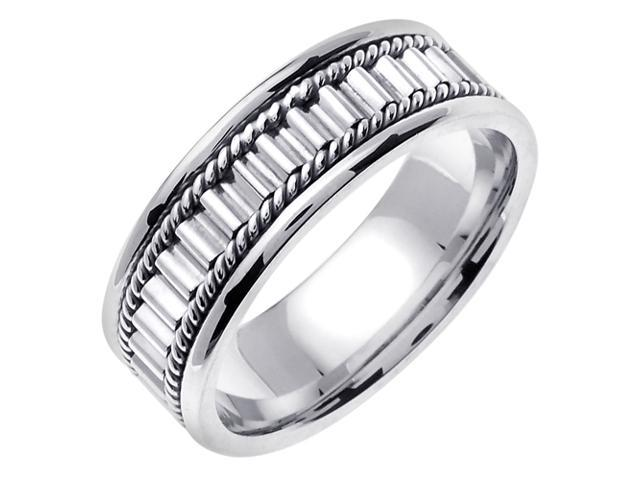 14K White Gold Comfort Fit Multi Cylinders Contemporary Men'S 7 Mm Wedding Band