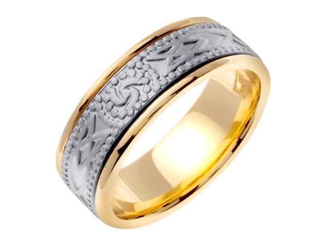 14K Two Tone Gold Comfort Fit Triple Spiral Celtic Men'S 8 Mm Wedding Band