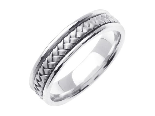 14K White Gold Comfort Fit Basket Weaved Braided Men'S Wedding Band