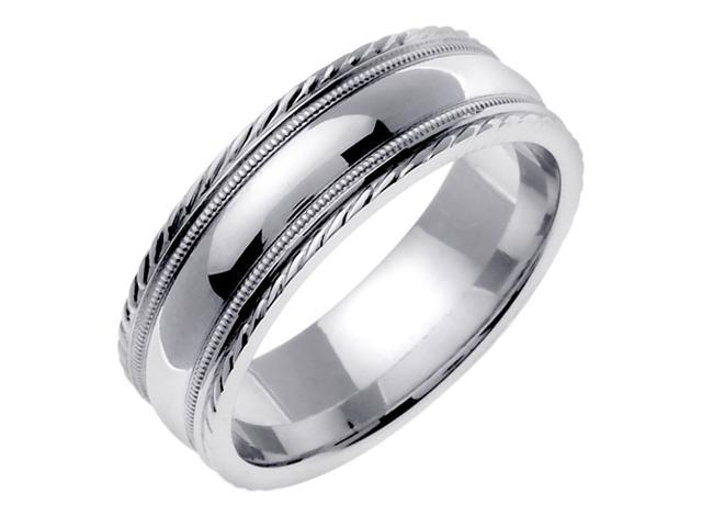 14K White Gold Comfort Fit Dome Surface Contemporary Men'S 7 Mm Wedding Band