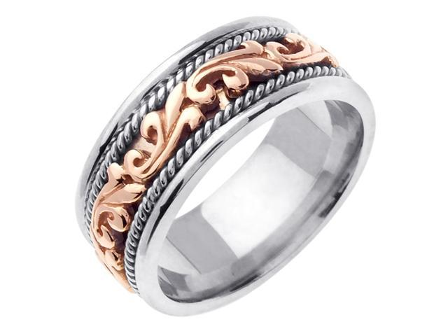14K Two Tone Gold Comfort Fit Paisley Swirl Braided Men'S Wedding Band