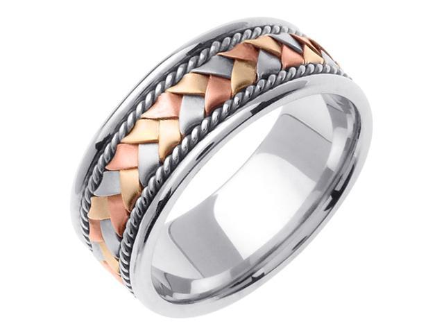 14K Tri Color Gold Comfort Fit Basket Weaved Braided Men'S Wedding Band