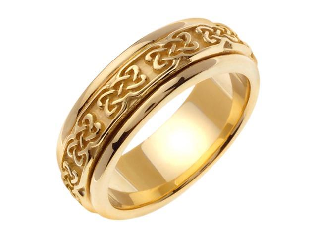 14K Yellow Gold Comfort Fit Dara Knot Celtic Men'S 7 Mm Wedding Band