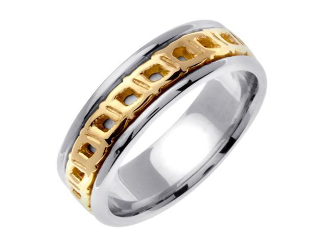 14K Two Tone Gold Comfort Fit Square Celtic Men'S 7 Mm Wedding Band