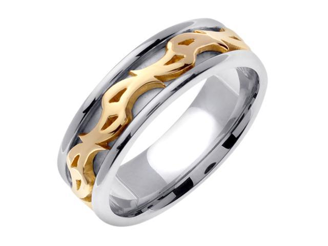 14K Two Tone Gold Comfort Fit Double Spiral Celtic Men'S 7 Mm Wedding Band