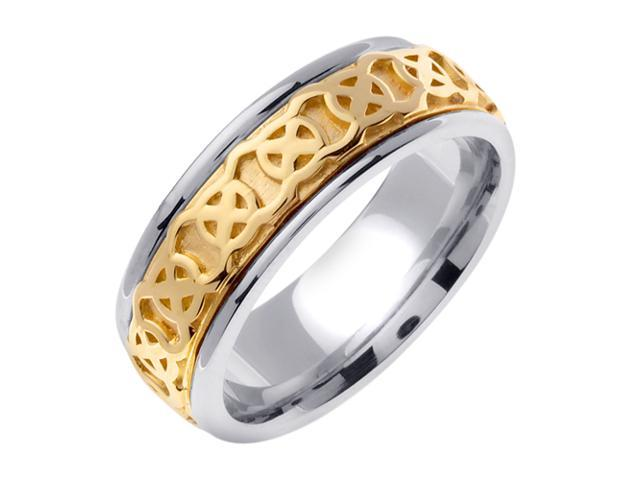 14K Two Tone Gold Comfort Fit Wheel Of Being Celtic Men'S 7.5 Mm Wedding Band