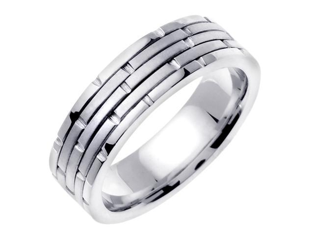 14K White Gold Comfort Fit Ring Stacks Contemporary Men'S 6.5 Mm Wedding Band