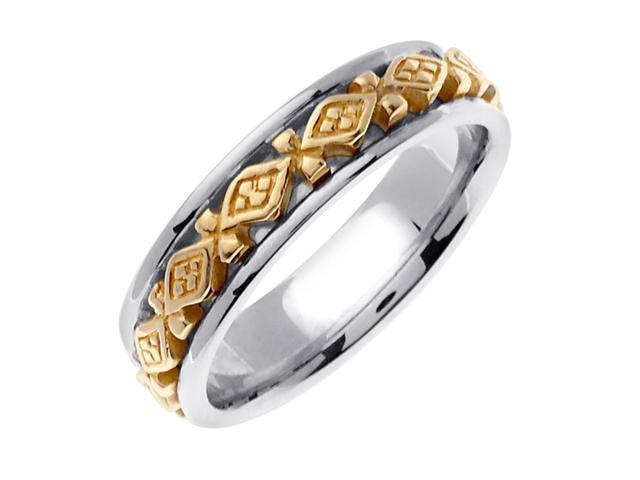 14K Two Tone Gold Comfort Fit 4 Square Celtic Men'S 6 Mm Wedding Band