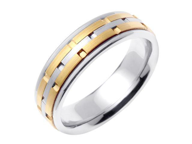 14K Two Tone Gold Comfort Fit Ring Stacks Contemporary Men'S Wedding Band