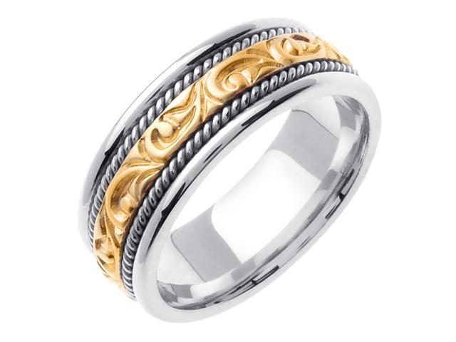 14K Two Tone Gold Comfort Fit Carved Paisley Swirl Carved Men'S Wedding Band