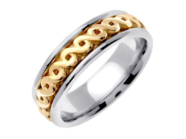 14K Two Tone Gold Comfort Fit Infinity Love Knot Celtic Men'S 7 Mm Wedding Band