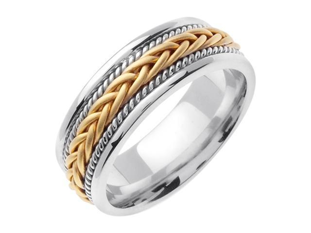 14K White Gold Comfort Fit French Braid Braided Men'S Wedding Band