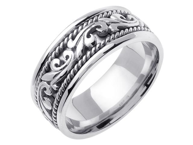 14K White Gold Comfort Fit Paisley Swirl Braided Men'S Wedding Band