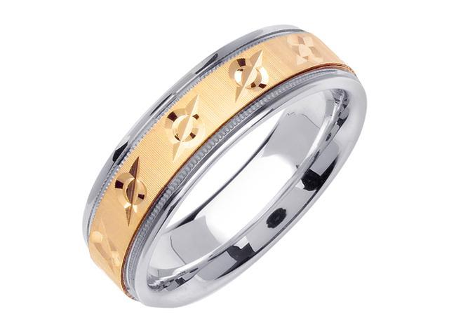 Struck Zero Designer Men'S 6.5 Mm 14K Two Tone Gold Comfort Fit Wedding Band