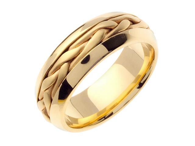 14K Yellow Gold Comfort Fit Heavy Strand French Braid Braided Men'S Wedding Band