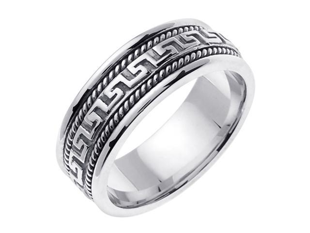 14K White Gold Comfort Fit Greek Key Contemporary Men'S Wedding Band