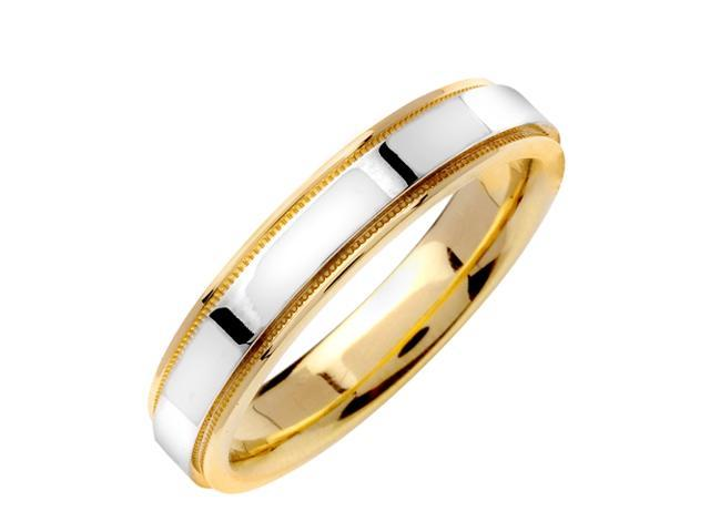 Flat Surface Designer Men'S 4.5 Mm 14K Two Tone Gold Comfort Fit Wedding Band