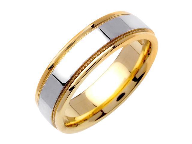 Flat Surface Designer Men'S 6.5 Mm 14K Two Tone Gold Comfort Fit Wedding Band