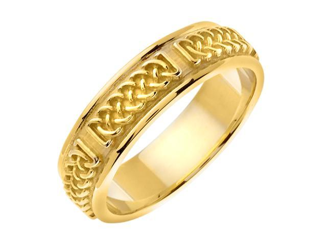 14K Yellow Gold Comfort Fit Infinity Knot Celtic Men'S 6 Mm Wedding Band