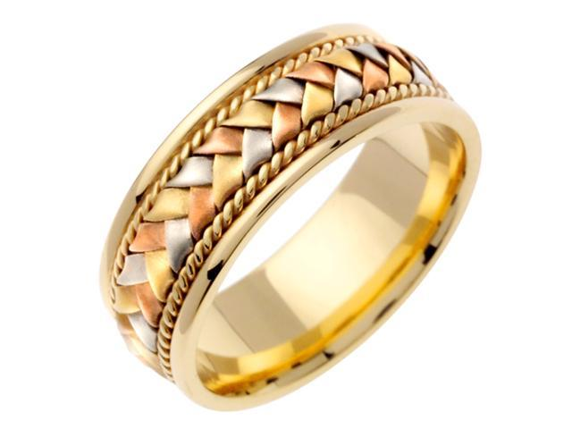 Band Designer Men'S 6 Mm 14K Two Tone Gold Comfort Fit Wedding Band